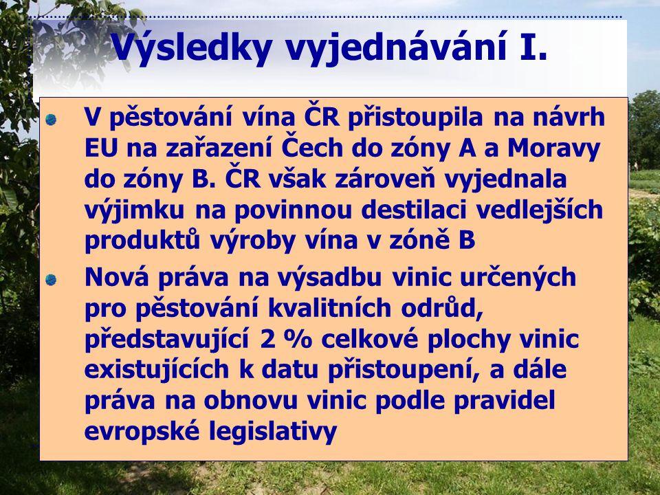 Výsledky vyjednávání I. V pěstování vína ČR přistoupila na návrh EU na zařazení Čech do zóny A a Moravy do zóny B. ČR však zároveň vyjednala výjimku n