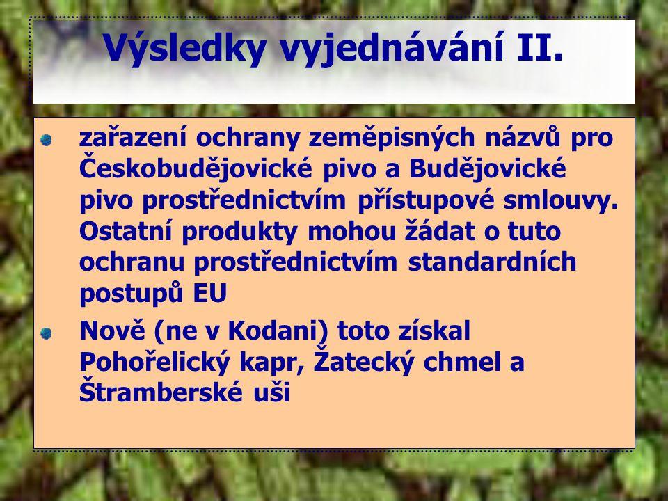 Výsledky vyjednávání II. zařazení ochrany zeměpisných názvů pro Českobudějovické pivo a Budějovické pivo prostřednictvím přístupové smlouvy. Ostatní p