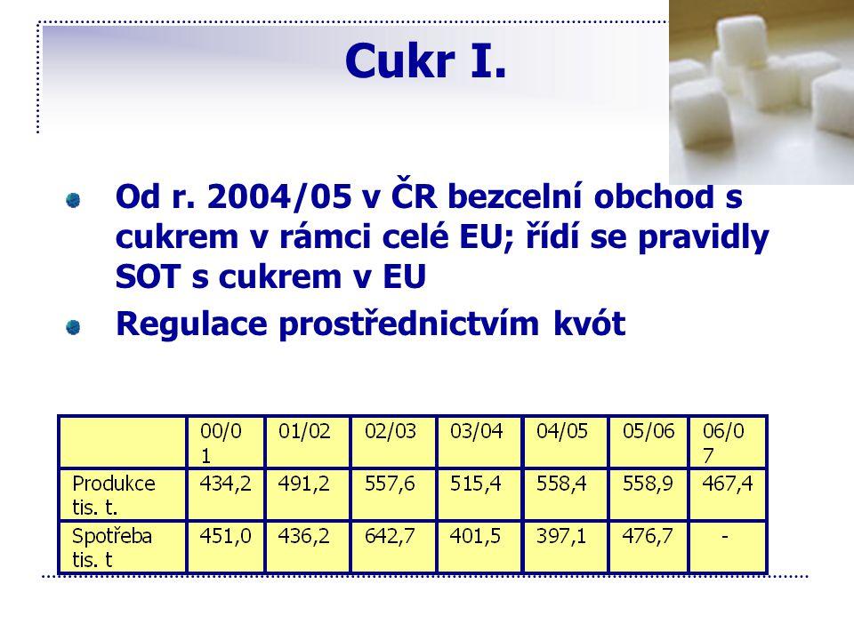 Cukr I. Od r. 2004/05 v ČR bezcelní obchod s cukrem v rámci celé EU; řídí se pravidly SOT s cukrem v EU Regulace prostřednictvím kvót