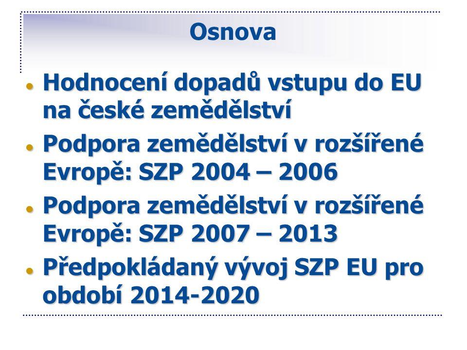 Osnova ● Hodnocení dopadů vstupu do EU na české zemědělství ● Podpora zemědělství v rozšířené Evropě: SZP 2004 – 2006 ● Podpora zemědělství v rozšířen