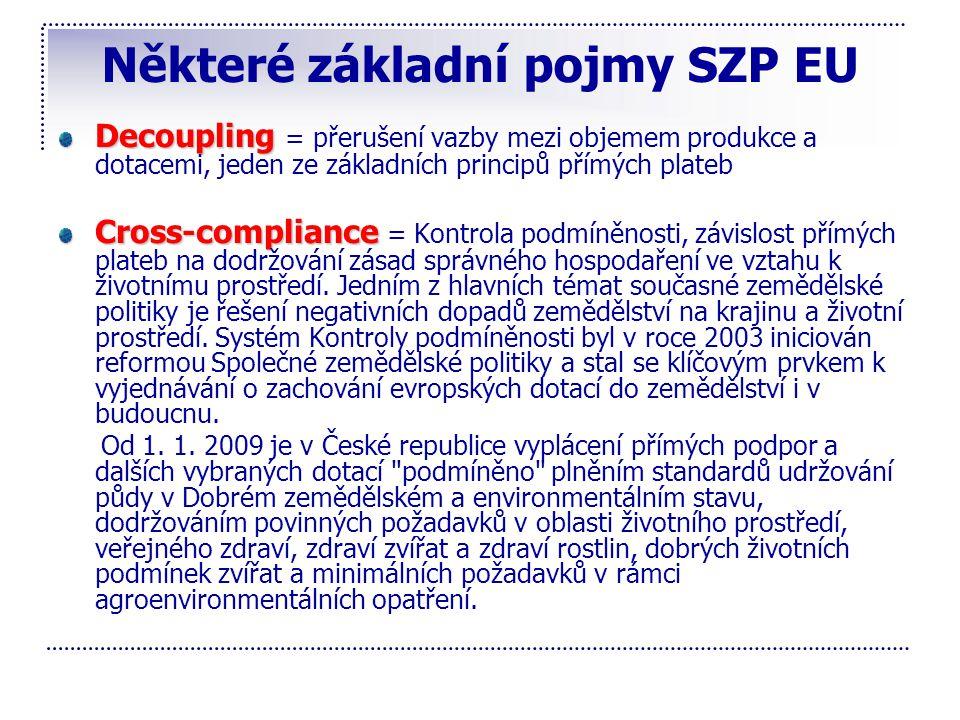 Některé základní pojmy SZP EU Decoupling Decoupling = přerušení vazby mezi objemem produkce a dotacemi, jeden ze základních principů přímých plateb Cr
