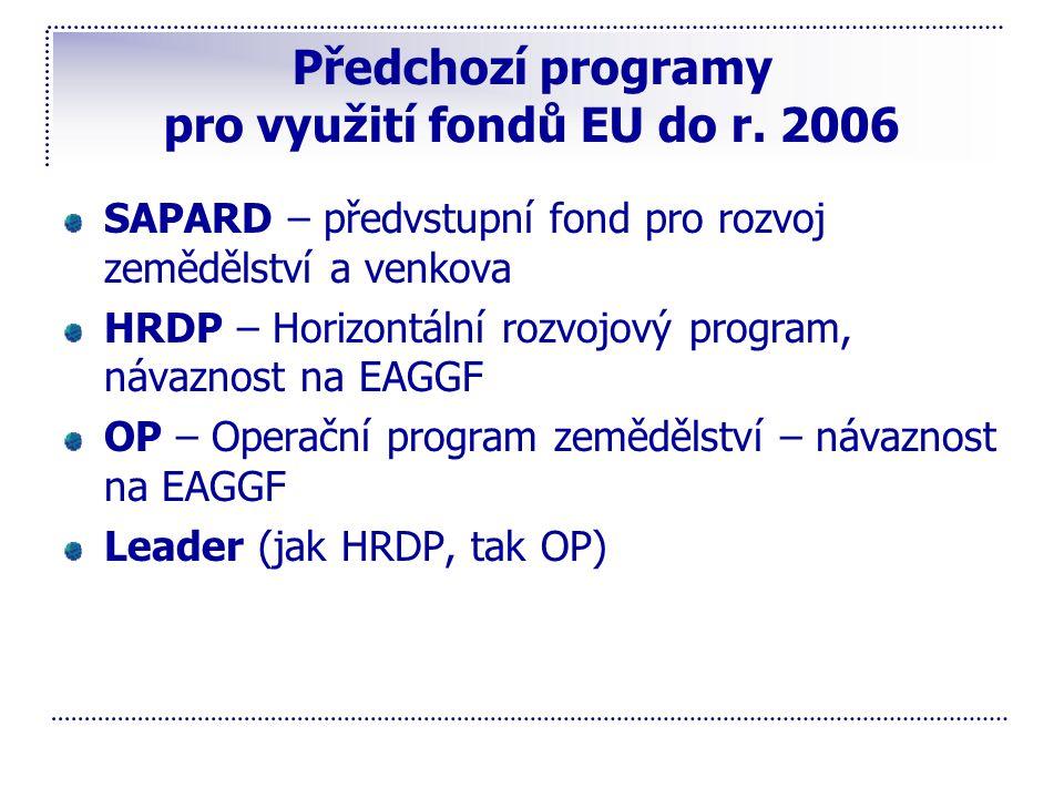 Předchozí programy pro využití fondů EU do r. 2006 SAPARD – předvstupní fond pro rozvoj zemědělství a venkova HRDP – Horizontální rozvojový program, n
