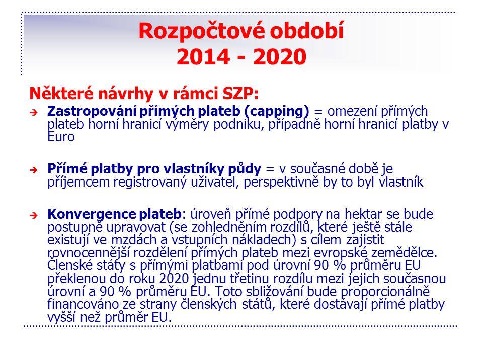 Rozpočtové období 2014 - 2020 Některé návrhy v rámci SZP:  Zastropování přímých plateb (capping) = omezení přímých plateb horní hranicí výměry podnik