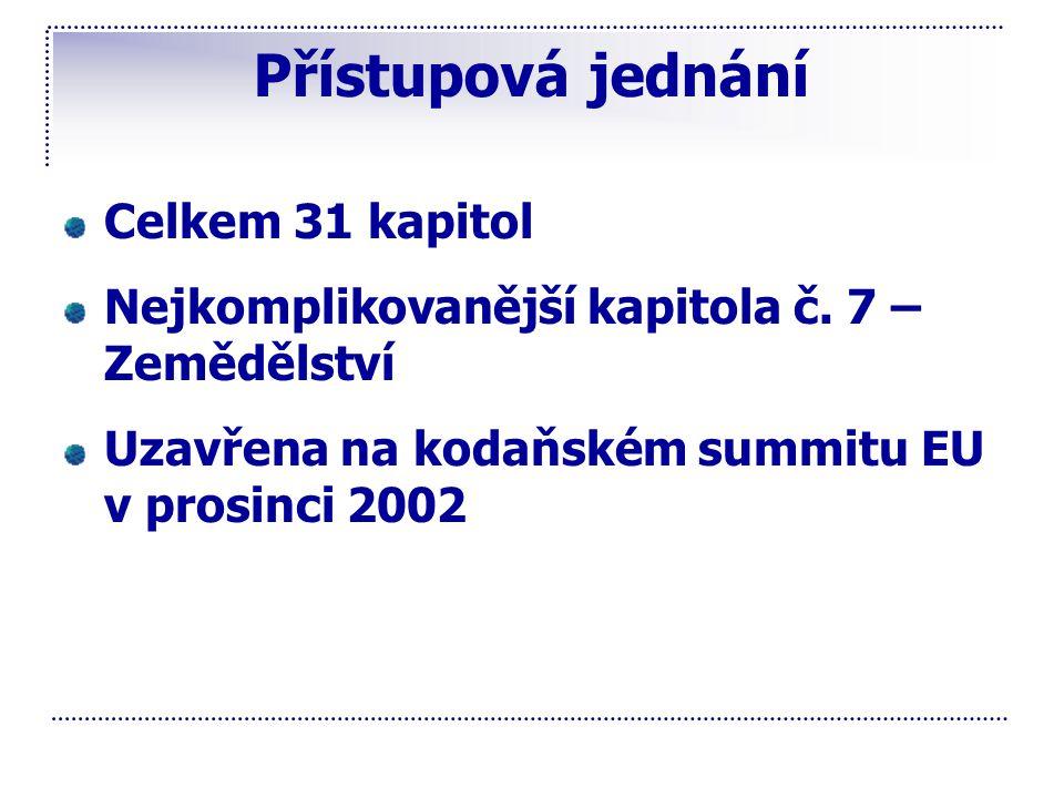 Přístupová jednání Celkem 31 kapitol Nejkomplikovanější kapitola č. 7 – Zemědělství Uzavřena na kodaňském summitu EU v prosinci 2002
