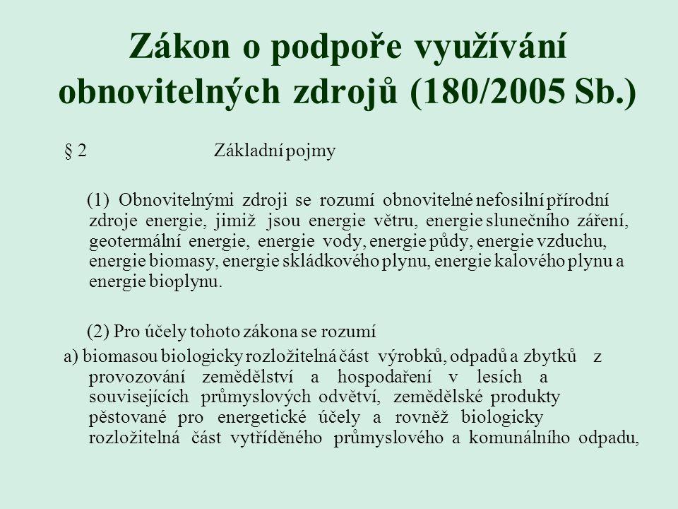 Zákon o podpoře využívání obnovitelných zdrojů (180/2005 Sb.) § 2 Základní pojmy (1) Obnovitelnými zdroji se rozumí obnovitelné nefosilní přírodní zdroje energie, jimiž jsou energie větru, energie slunečního záření, geotermální energie, energie vody, energie půdy, energie vzduchu, energie biomasy, energie skládkového plynu, energie kalového plynu a energie bioplynu.