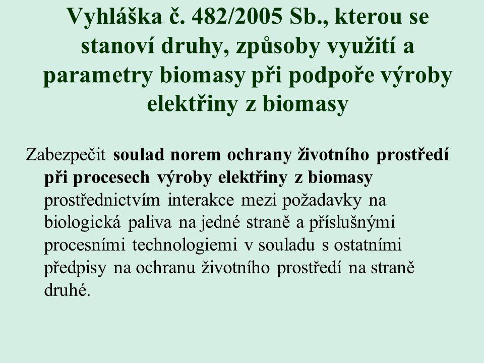Vyhláška č. 482/2005 Sb., kterou se stanoví druhy, způsoby využití a parametry biomasy při podpoře výroby elektřiny z biomasy Zabezpečit soulad norem