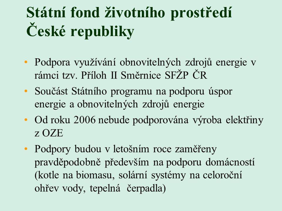 Státní fond životního prostředí České republiky Podpora využívání obnovitelných zdrojů energie v rámci tzv. Příloh II Směrnice SFŽP ČR Součást Státníh