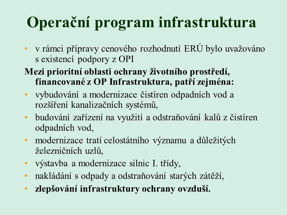 Operační program infrastruktura v rámci přípravy cenového rozhodnutí ERÚ bylo uvažováno s existencí podpory z OPI Mezi prioritní oblasti ochrany životního prostředí, financované z OP Infrastruktura, patří zejména: vybudování a modernizace čistíren odpadních vod a rozšíření kanalizačních systémů, budování zařízení na využití a odstraňování kalů z čistíren odpadních vod, modernizace tratí celostátního významu a důležitých železničních uzlů, výstavba a modernizace silnic I.