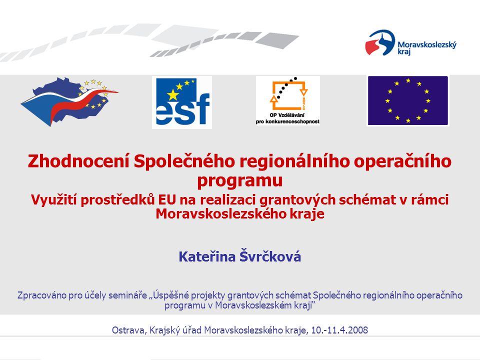 Úspěšné projekty grantových schémat SROP v Moravskoslezském kraji Shrnutí realizace grantových schémat SROP 2004 – 2006 Stručný přehled za 4 kola výzev pro GS SROP MSK: celkem 4 kola výzev (celková alokace: 1,073 mld.