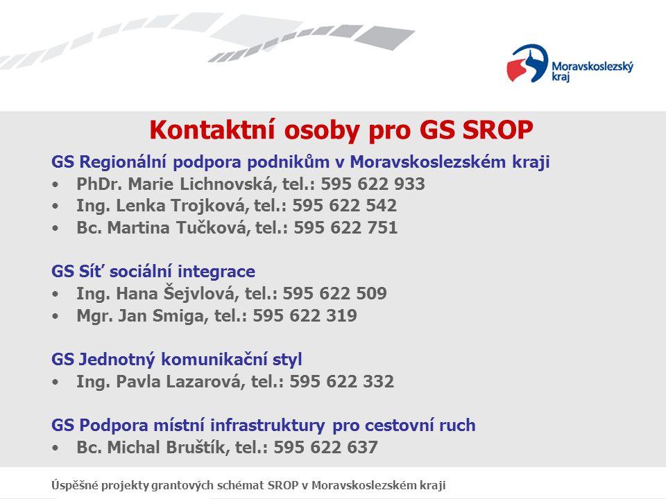 Úspěšné projekty grantových schémat SROP v Moravskoslezském kraji Kontaktní osoby pro GS SROP GS Regionální podpora podnikům v Moravskoslezském kraji PhDr.