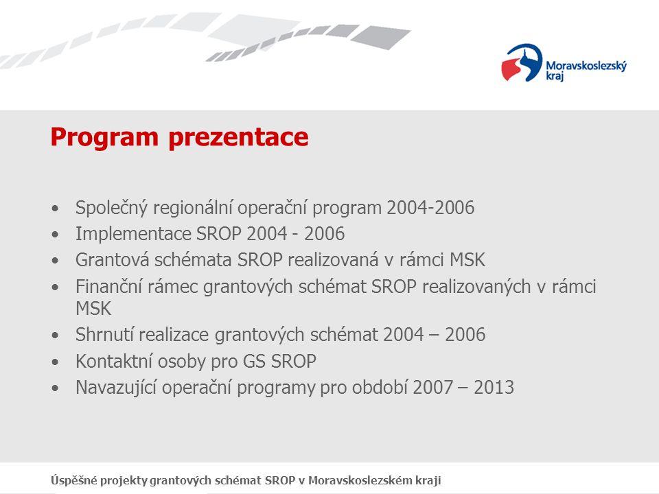 Úspěšné projekty grantových schémat SROP v Moravskoslezském kraji Program prezentace Společný regionální operační program 2004-2006 Implementace SROP 2004 - 2006 Grantová schémata SROP realizovaná v rámci MSK Finanční rámec grantových schémat SROP realizovaných v rámci MSK Shrnutí realizace grantových schémat 2004 – 2006 Kontaktní osoby pro GS SROP Navazující operační programy pro období 2007 – 2013