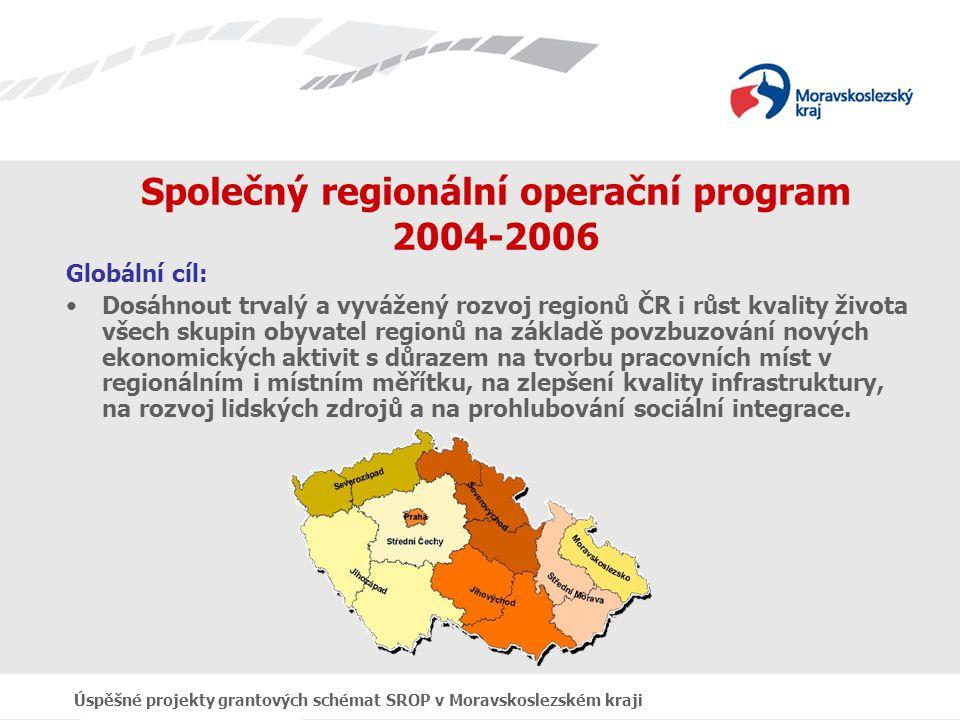 Úspěšné projekty grantových schémat SROP v Moravskoslezském kraji Společný regionální operační program 2004-2006 Specifické cíle: Zvýšit prosperitu regionů rozvojem malých a středních podniků a řemesel s vytvářením nových pracovních míst (priorita 1) Všestranně zkvalitnit regionální dopravní a informační infrastrukturu při respektování ochrany životního prostředí (priorita 2) Zlepšit životní podmínky obyvatel, zejména minorit, zvýšit jejich participaci na celoživotním učení a integrovat sociálně vyloučené skupiny do komunity a k pracovnímu uplatnění (priorita3) Zvýšit podíl cestovního ruchu na hospodářské prosperitě regionů, zvýšit objem přímých investic pro rozvoj cestovního ruchu a vytvářet nové pracovní příležitosti (priorita 4)