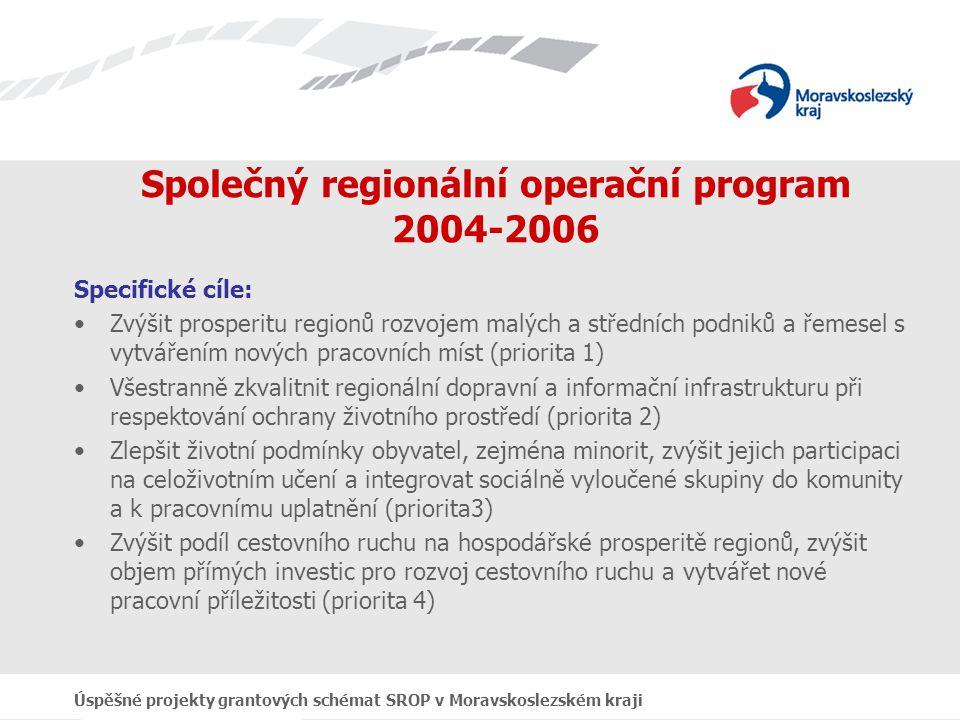 Úspěšné projekty grantových schémat SROP v Moravskoslezském kraji Implementace SROP 2004-2006 Priority: 1.
