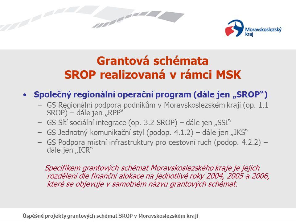 Úspěšné projekty grantových schémat SROP v Moravskoslezském kraji Grantová schémata SROP realizovaná v rámci MSK Stěžejní okamžiky: Předložení GS: 1., 2.