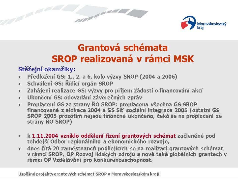 Úspěšné projekty grantových schémat SROP v Moravskoslezském kraji Grantová schémata SROP realizovaná v rámci MSK Přehled jednotlivých kol výzev: Celkem vyhlášena 4 kola výzev pro předkládání akcí do grantových schémat MSK: –1.