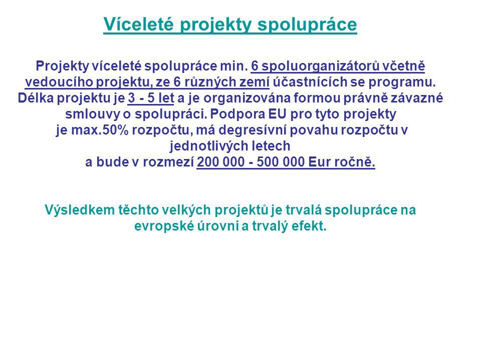 Víceleté projekty spolupráce Projekty víceleté spolupráce min.