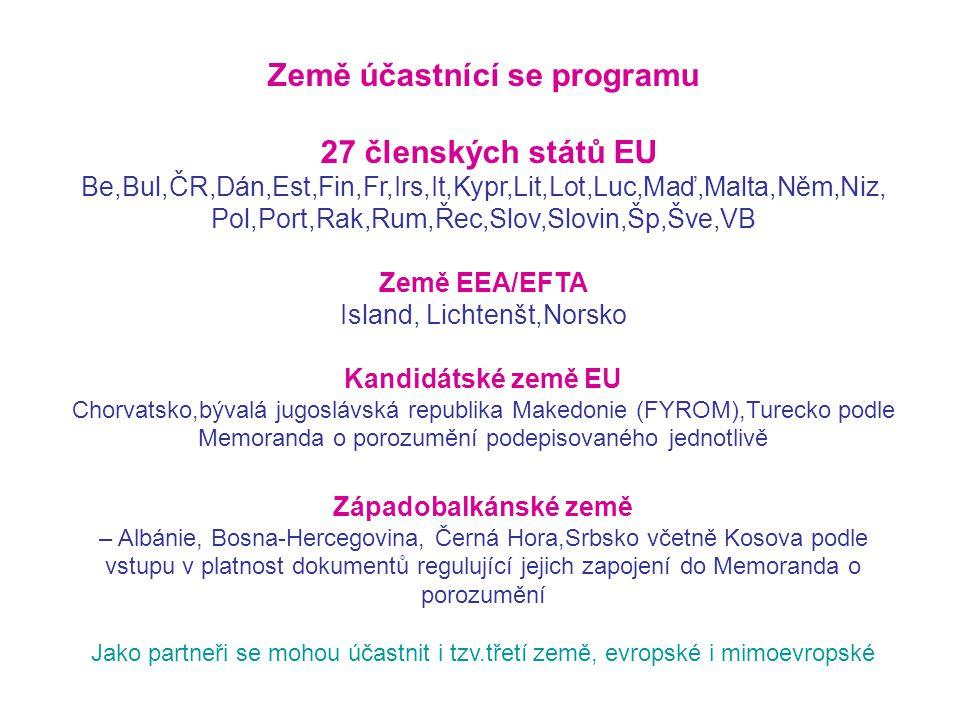 Země účastnící se programu 27 členských států EU Be,Bul,ČR,Dán,Est,Fin,Fr,Irs,It,Kypr,Lit,Lot,Luc,Maď,Malta,Něm,Niz, Pol,Port,Rak,Rum,Řec,Slov,Slovin,Šp,Šve,VB Země EEA/EFTA Island, Lichtenšt,Norsko Kandidátské země EU Chorvatsko,bývalá jugoslávská republika Makedonie (FYROM),Turecko podle Memoranda o porozumění podepisovaného jednotlivě Západobalkánské země – Albánie, Bosna-Hercegovina, Černá Hora,Srbsko včetně Kosova podle vstupu v platnost dokumentů regulující jejich zapojení do Memoranda o porozumění Jako partneři se mohou účastnit i tzv.třetí země, evropské i mimoevropské
