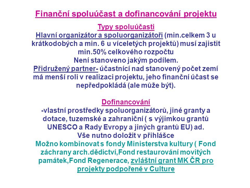 Finanční spoluúčast a dofinancování projektu Typy spoluúčasti Hlavní organizátor a spoluorganizátoři (min.celkem 3 u krátkodobých a min.