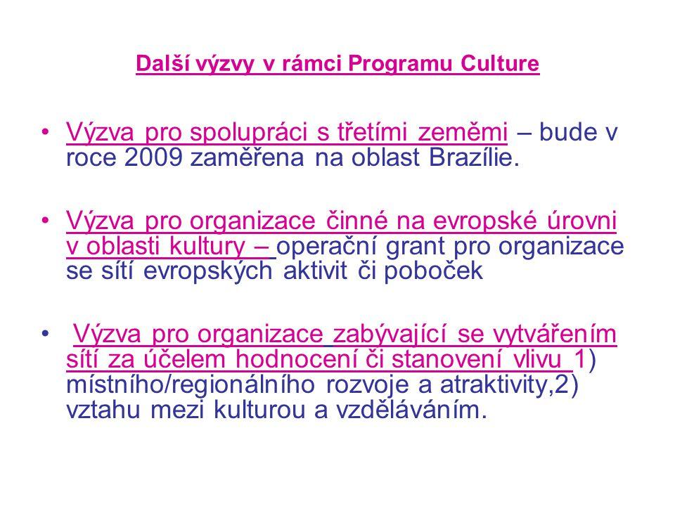 Další výzvy v rámci Programu Culture Výzva pro spolupráci s třetími zeměmi – bude v roce 2009 zaměřena na oblast Brazílie.