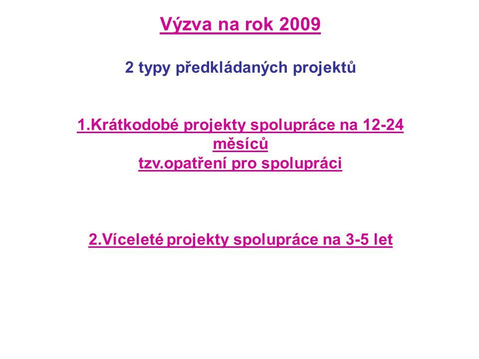 Výzva na rok 2009 2 typy předkládaných projektů 1.Krátkodobé projekty spolupráce na 12-24 měsíců tzv.opatření pro spolupráci 2.Víceleté projekty spolupráce na 3-5 let
