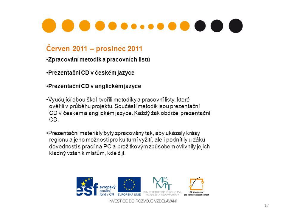 17 Zpracování metodik a pracovních listů Prezentační CD v českém jazyce Prezentační CD v anglickém jazyce Vyučující obou škol tvořili metodiky a praco