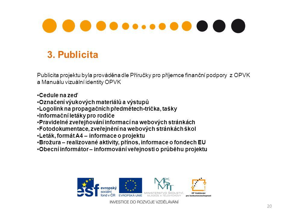 20 3. Publicita Publicita projektu byla prováděna dle Příručky pro příjemce finanční podpory z OPVK a Manuálu vizuální identity OPVK Cedule na zeď Ozn