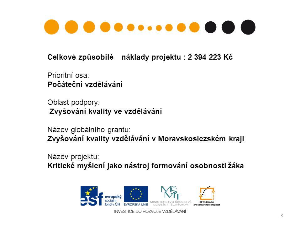 3 Celkové způsobilé náklady projektu : 2 394 223 Kč Prioritní osa: Počáteční vzdělávání Oblast podpory: Zvyšování kvality ve vzdělávání Název globální