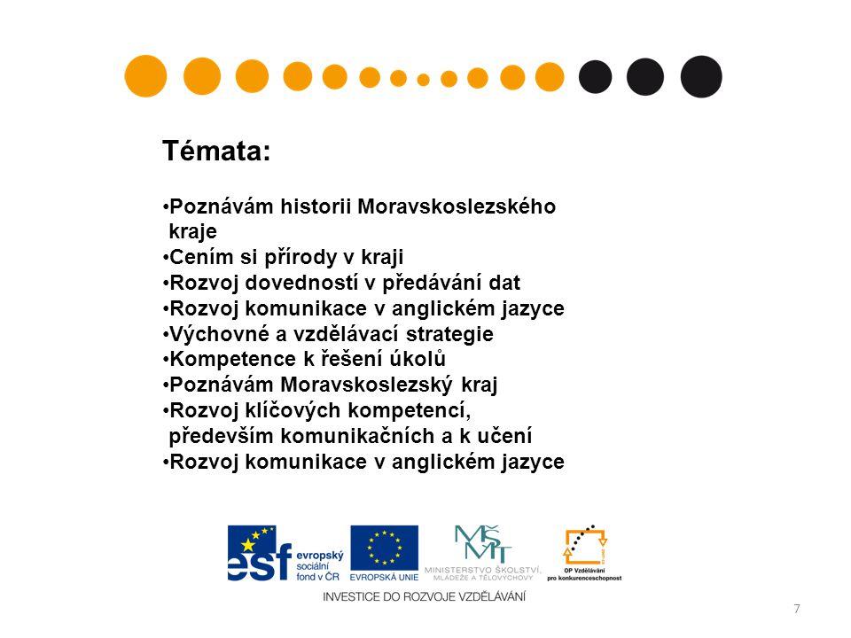 7 Témata: Poznávám historii Moravskoslezského kraje Cením si přírody v kraji Rozvoj dovedností v předávání dat Rozvoj komunikace v anglickém jazyce Vý