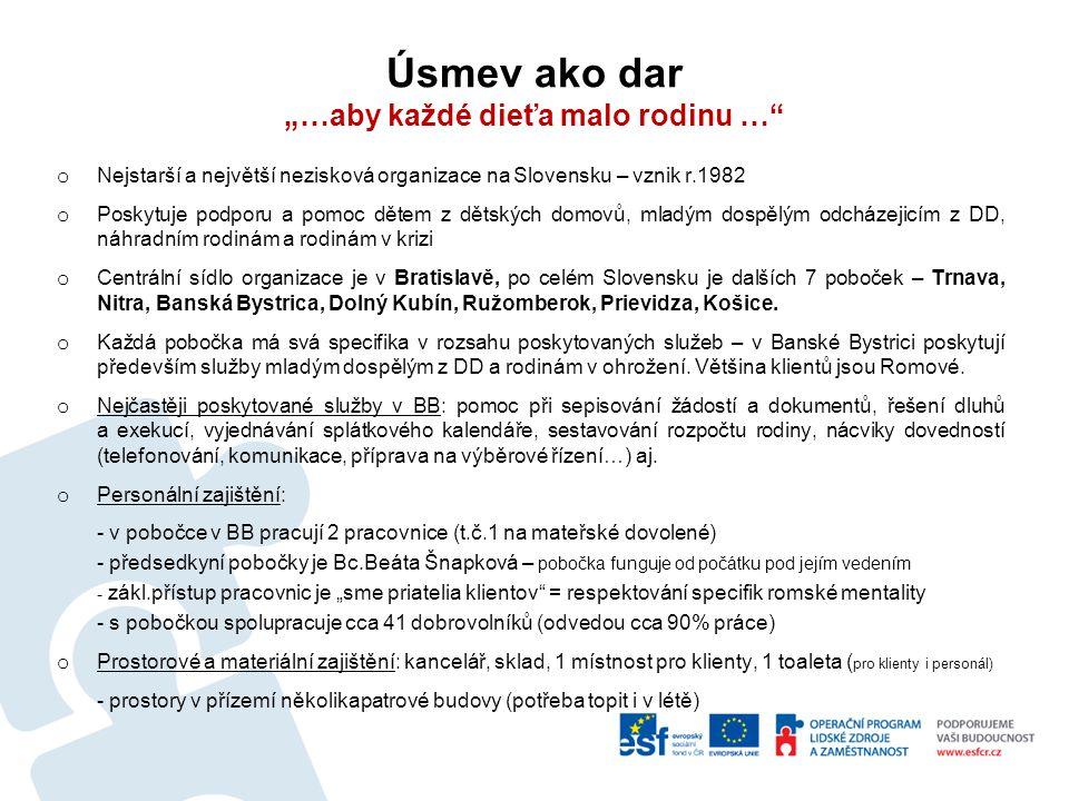 """Úsmev ako dar """"…aby každé dieťa malo rodinu … o Nejstarší a největší nezisková organizace na Slovensku – vznik r.1982 o Poskytuje podporu a pomoc dětem z dětských domovů, mladým dospělým odcházejicím z DD, náhradním rodinám a rodinám v krizi o Centrální sídlo organizace je v Bratislavě, po celém Slovensku je dalších 7 poboček – Trnava, Nitra, Banská Bystrica, Dolný Kubín, Ružomberok, Prievidza, Košice."""