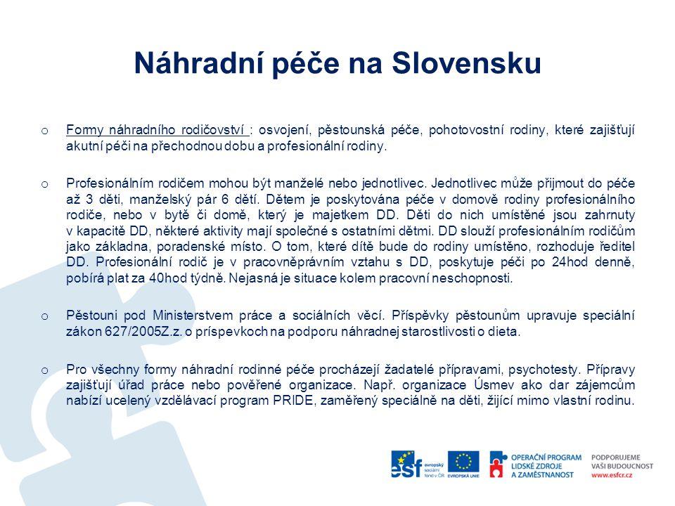 """Přínos stáže – poznatky a postřehy Rozdíly v ČR a SR o Standardy kvality soc.služeb: v SR není povinnost mít zpracované standardy kvality o Profesionální rodič: v ČR není; v SR je profi-rodič profesí, jsou uzavírány pracovní smlouvy, doplňuje """"nabídku náhradních forem o Děti do 6 let v DD: v SR dle zákona musí být všechny děti mladší 6 let umístěny mimo ústavní zařízení Příklady dobré praxe o DD v městské zástavbě - jeden z nejpodstatnějších postřehů z v tomto ohledu podařené transformace."""