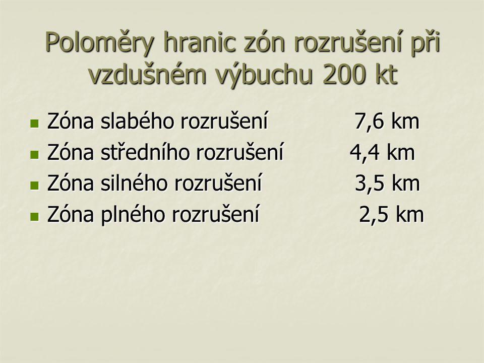 Poloměry hranic zón rozrušení při vzdušném výbuchu 200 kt Zóna slabého rozrušení 7,6 km Zóna slabého rozrušení 7,6 km Zóna středního rozrušení 4,4 km Zóna středního rozrušení 4,4 km Zóna silného rozrušení 3,5 km Zóna silného rozrušení 3,5 km Zóna plného rozrušení 2,5 km Zóna plného rozrušení 2,5 km