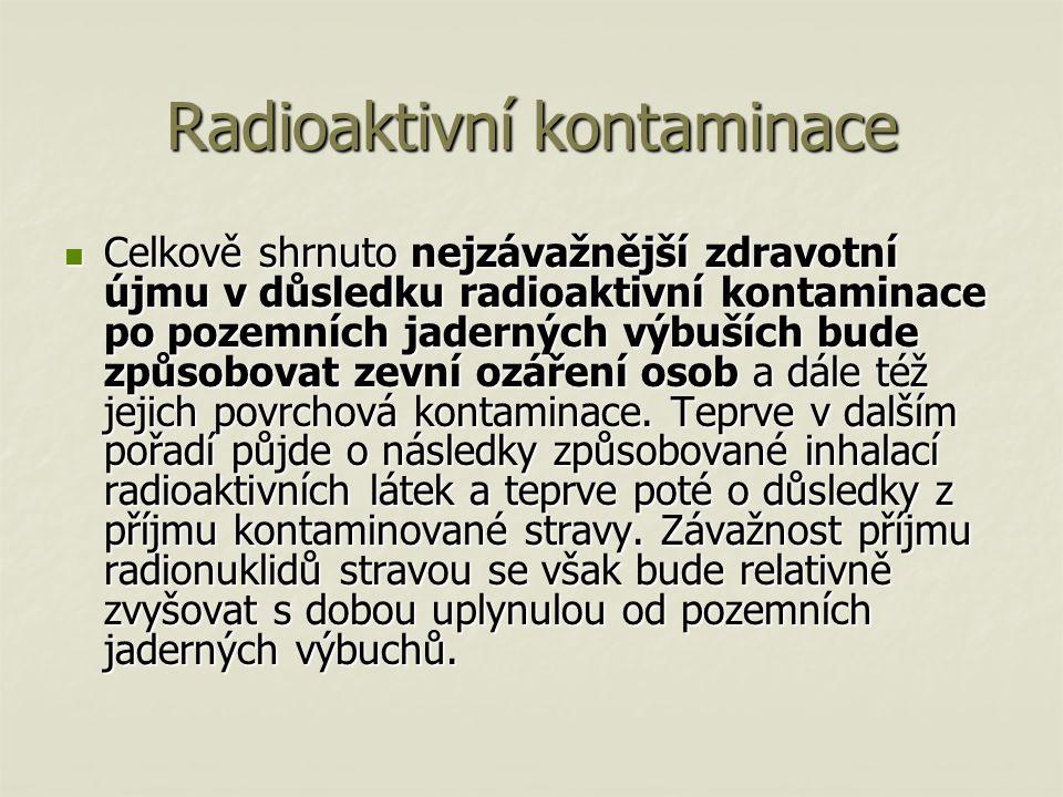 Radioaktivní kontaminace Celkově shrnuto nejzávažnější zdravotní újmu v důsledku radioaktivní kontaminace po pozemních jaderných výbuších bude způsobovat zevní ozáření osob a dále též jejich povrchová kontaminace.