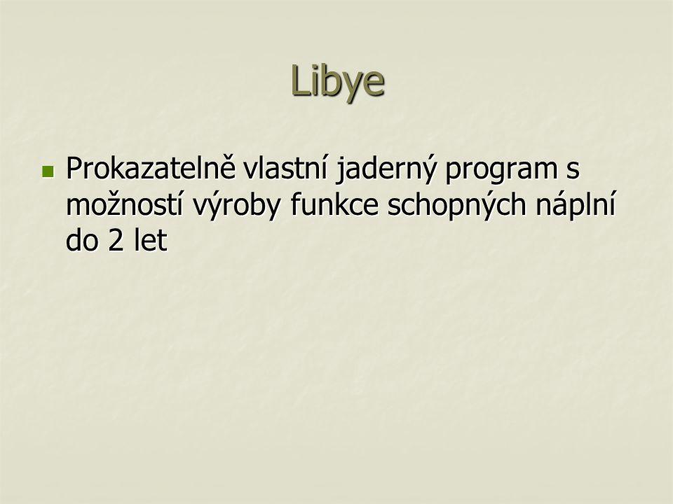 Libye Prokazatelně vlastní jaderný program s možností výroby funkce schopných náplní do 2 let Prokazatelně vlastní jaderný program s možností výroby funkce schopných náplní do 2 let