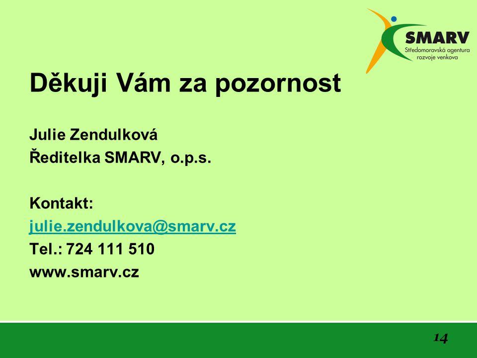Děkuji Vám za pozornost Julie Zendulková Ředitelka SMARV, o.p.s. Kontakt: julie.zendulkova@smarv.cz Tel.: 724 111 510 www.smarv.cz 14