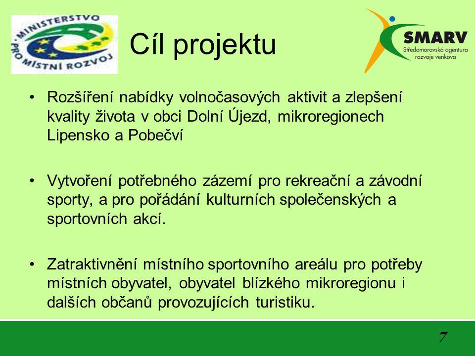 Cíl projektu Rozšíření nabídky volnočasových aktivit a zlepšení kvality života v obci Dolní Újezd, mikroregionech Lipensko a Pobečví Vytvoření potřebn