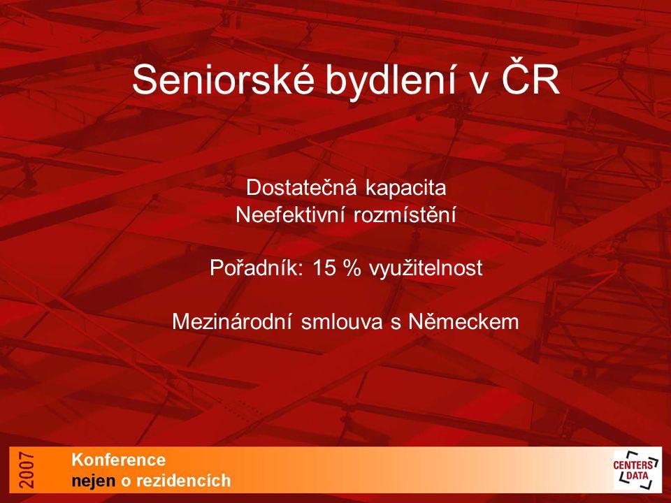 Seniorské bydlení v ČR Dostatečná kapacita Neefektivní rozmístění Pořadník: 15 % využitelnost Mezinárodní smlouva s Německem