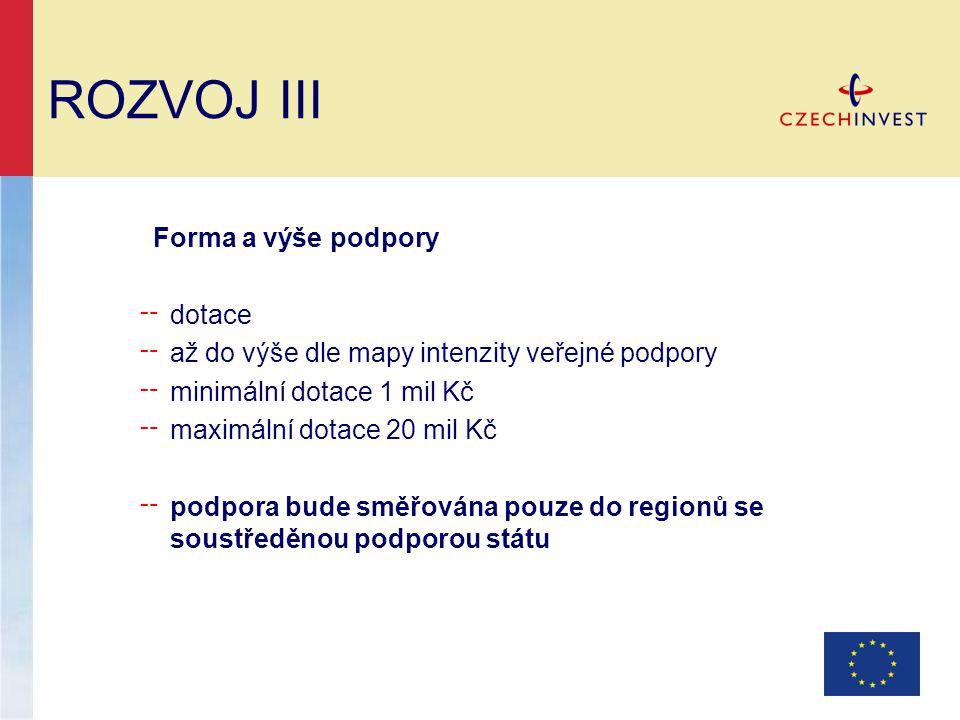 ROZVOJ III Forma a výše podpory ╌ dotace ╌ až do výše dle mapy intenzity veřejné podpory ╌ minimální dotace 1 mil Kč ╌ maximální dotace 20 mil Kč ╌ po