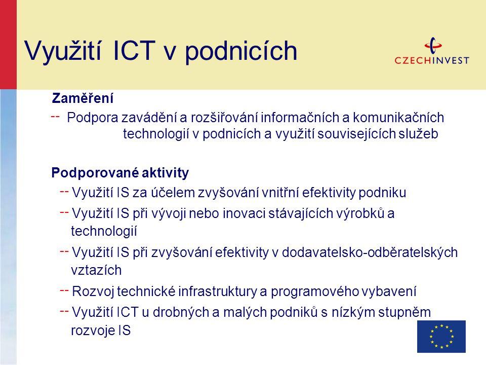 Využití ICT v podnicích Zaměření ╌ Podpora zavádění a rozšiřování informačních a komunikačních technologií v podnicích a využití souvisejících služeb
