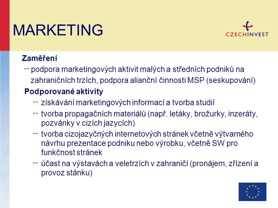 Zaměření ╌ podpora marketingových aktivit malých a středních podniků na zahraničních trzích, podpora alianční činnosti MSP (seskupování) Podporované a