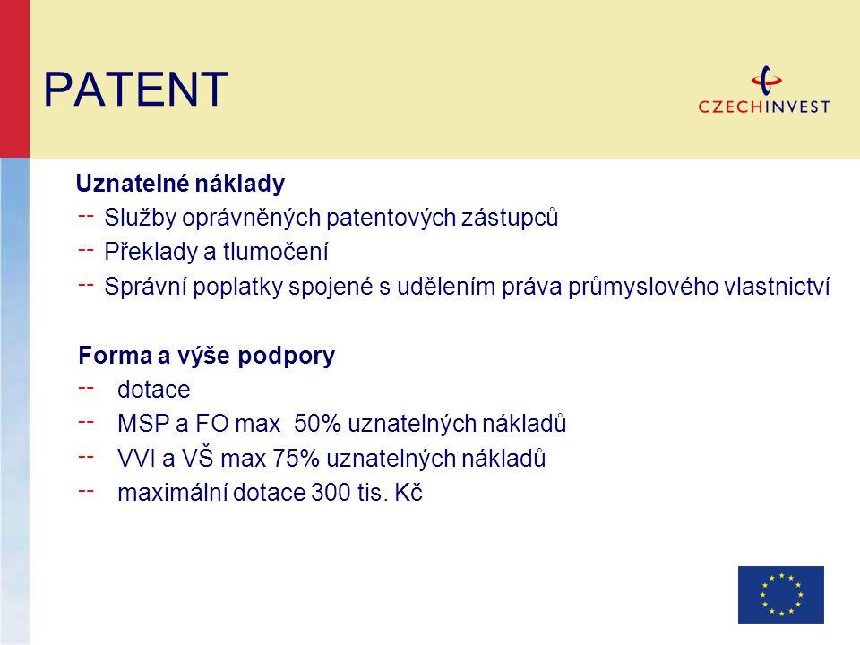 PATENT Uznatelné náklady ╌ Služby oprávněných patentových zástupců ╌ Překlady a tlumočení ╌ Správní poplatky spojené s udělením práva průmyslového vla