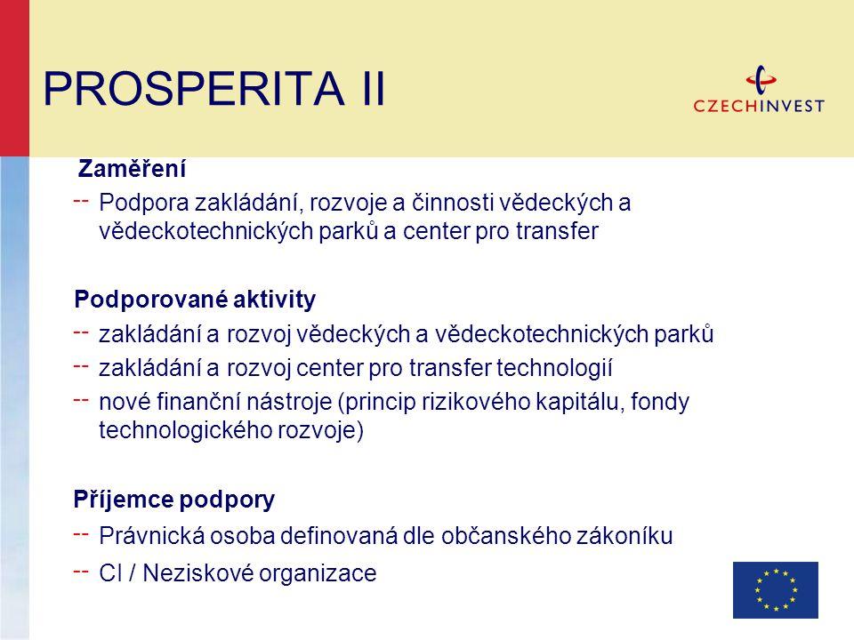 PROSPERITA II Zaměření ╌ Podpora zakládání, rozvoje a činnosti vědeckých a vědeckotechnických parků a center pro transfer Podporované aktivity ╌ zaklá