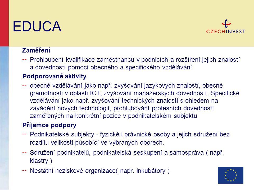 EDUCA Zaměření ╌ Prohloubení kvalifikace zaměstnanců v podnicích a rozšíření jejich znalostí a dovedností pomocí obecného a specifického vzdělávání Po
