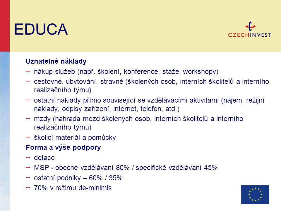 EDUCA Uznatelné náklady ╌ nákup služeb (např. školení, konference, stáže, workshopy) ╌ cestovné, ubytování, stravné (školených osob, interních školite