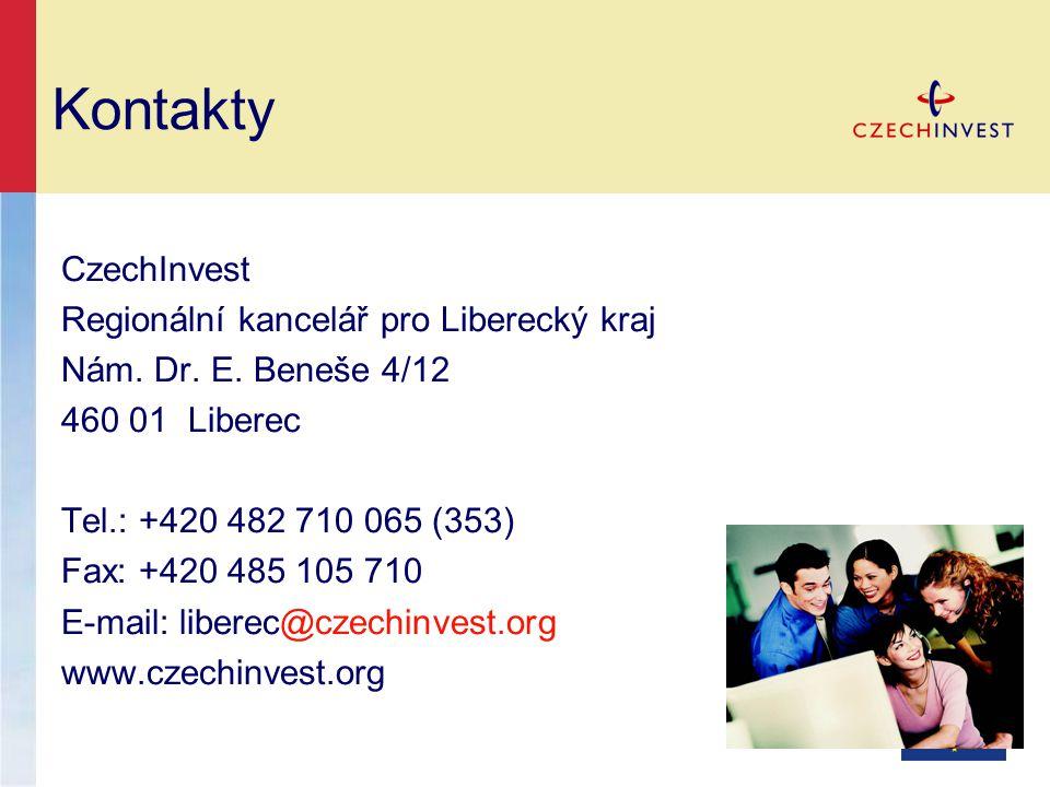 Kontakty CzechInvest Regionální kancelář pro Liberecký kraj Nám. Dr. E. Beneše 4/12 460 01 Liberec Tel.: +420 482 710 065 (353) Fax: +420 485 105 710