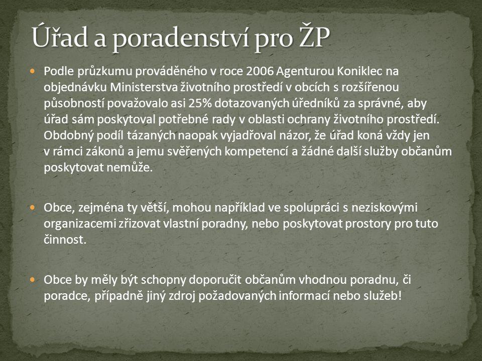 Podle průzkumu prováděného v roce 2006 Agenturou Koniklec na objednávku Ministerstva životního prostředí v obcích s rozšířenou působností považovalo a