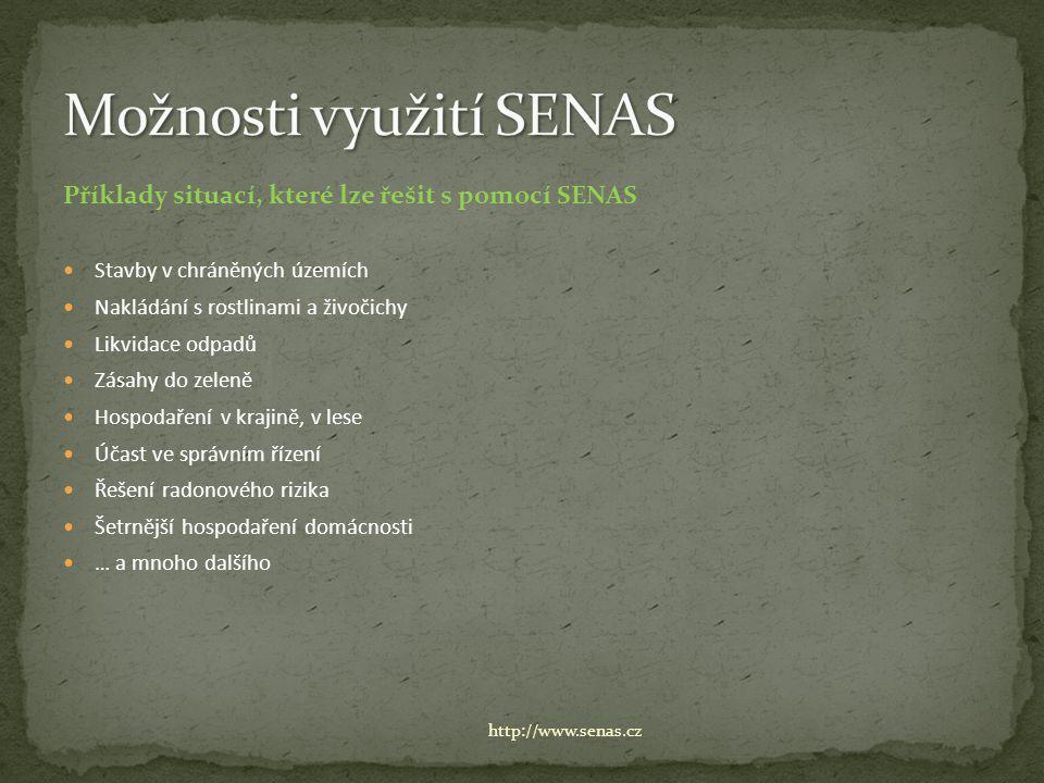 Příklady situací, které lze řešit s pomocí SENAS Stavby v chráněných územích Nakládání s rostlinami a živočichy Likvidace odpadů Zásahy do zeleně Hospodaření v krajině, v lese Účast ve správním řízení Řešení radonového rizika Šetrnější hospodaření domácnosti … a mnoho dalšího http://www.senas.cz