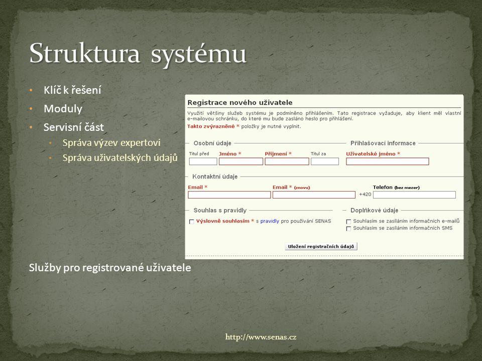 Klíč k řešení Moduly Servisní část Správa výzev expertovi Správa uživatelských údajů Služby pro registrované uživatele http://www.senas.cz