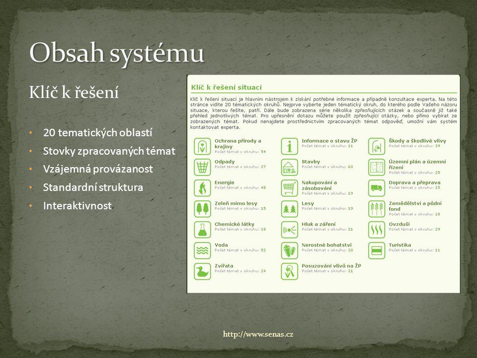 Klíč k řešení 20 tematických oblastí Stovky zpracovaných témat Vzájemná provázanost Standardní struktura Interaktivnost http://www.senas.cz