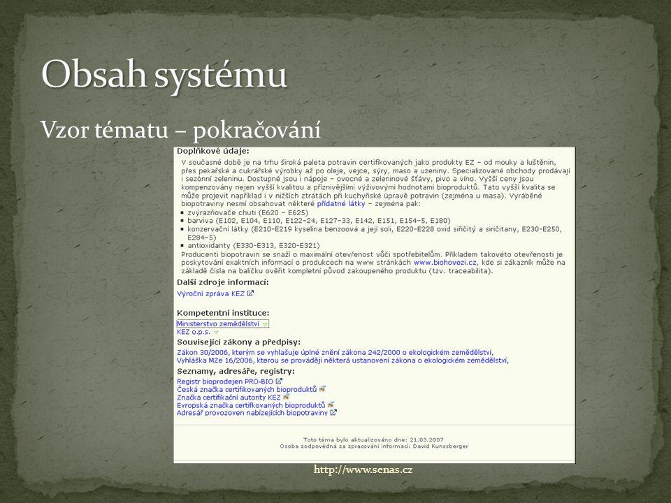 Vzor tématu – pokračování http://www.senas.cz