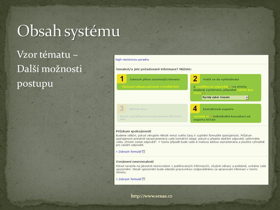 Vzor tématu – Další možnosti postupu http://www.senas.cz